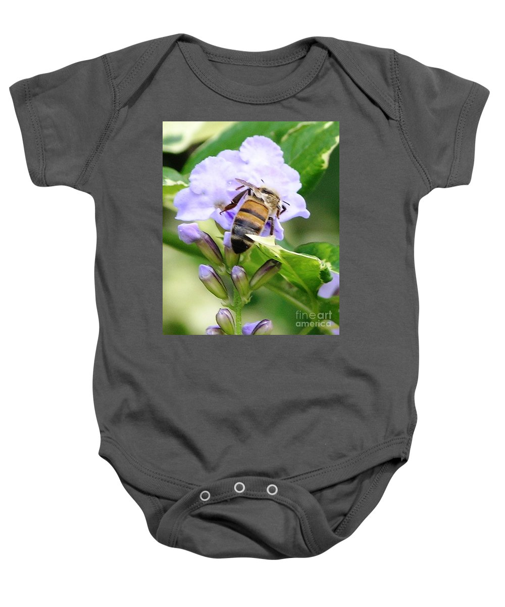 Purple Flower Baby Onesie featuring the photograph Honey Bee On Lavender Flower by Mary Deal
