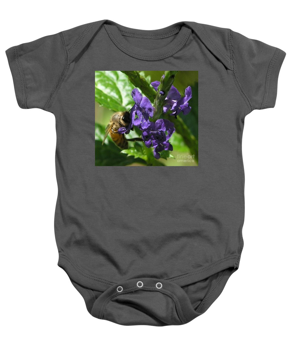 Purple Baby Onesie featuring the photograph Honey Bee On Purple Flower by Mary Deal