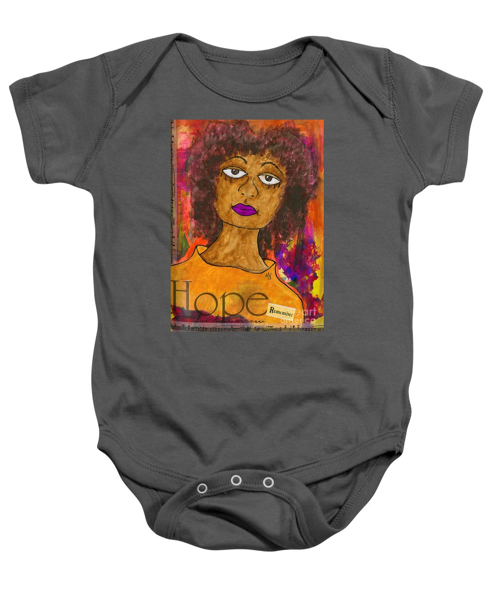 Women Baby Onesie featuring the mixed media Hope For Tomorrow - Journal Art by Angela L Walker