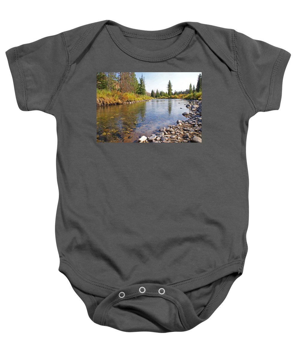 Horse Baby Onesie featuring the photograph Horse Creek Wy by Heather Coen