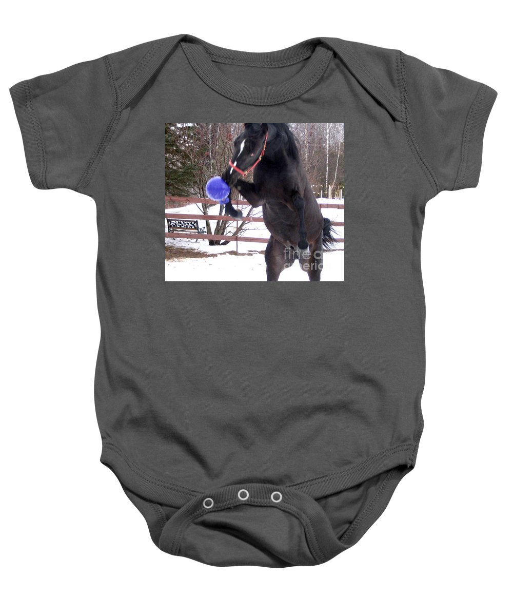 Horse Baby Onesie featuring the photograph Horse Playing Ball by Line Gagne