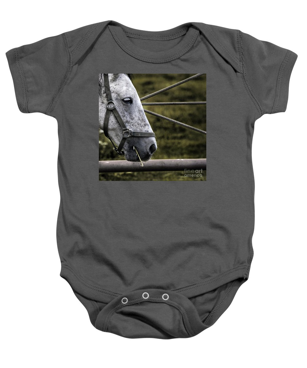 Horse Baby Onesie featuring the photograph Horse's Head by Angel Ciesniarska
