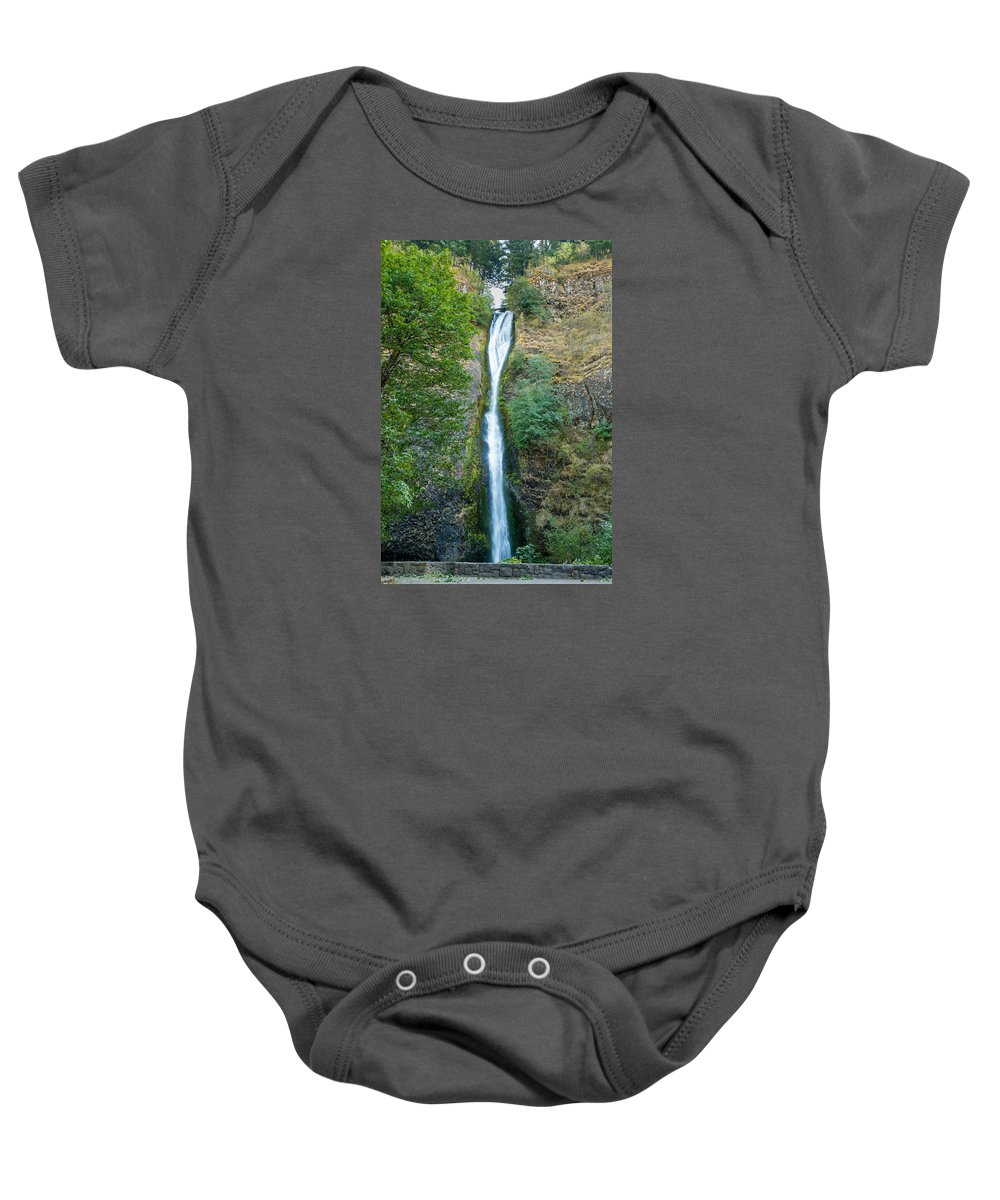 Landscape Baby Onesie featuring the photograph Horsetail Falls by John M Bailey