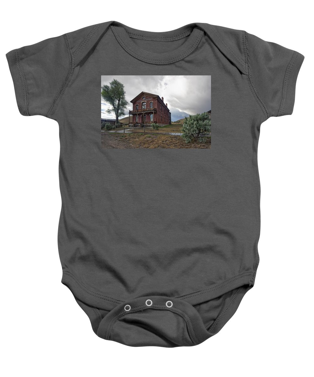 meade Hotel Baby Onesie featuring the photograph Hotel Meade - Bannack Ghost Town - Montana by Daniel Hagerman