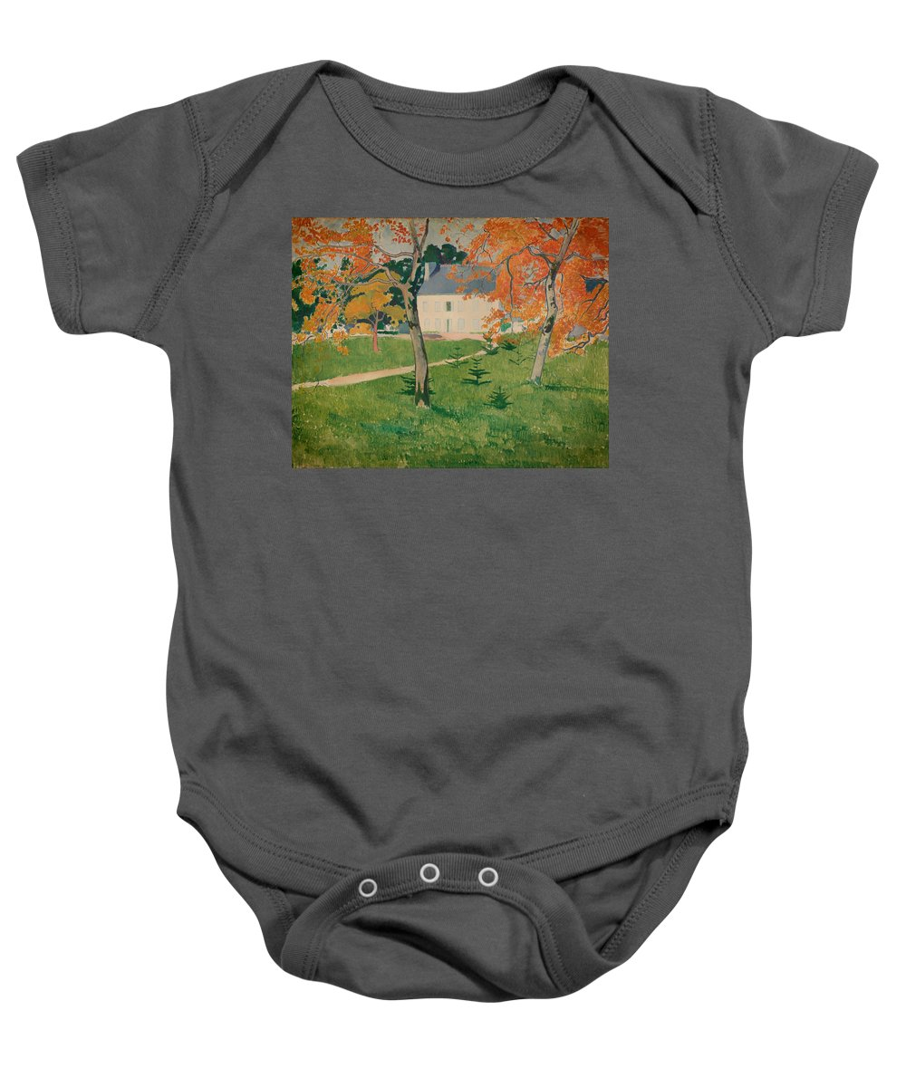 Painting Baby Onesie featuring the painting House Among Trees by Mountain Dreams