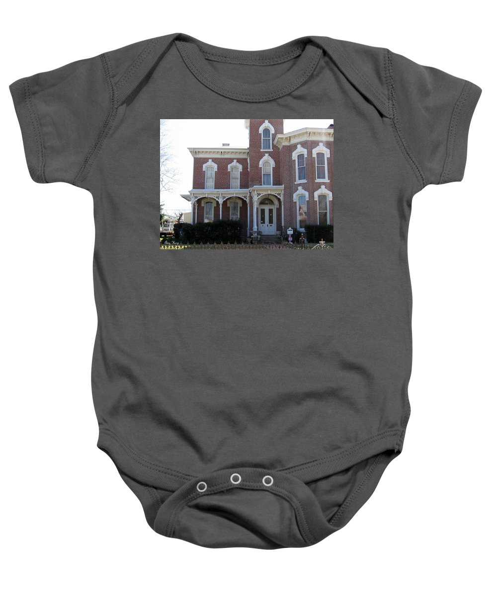 Victorian-style House Baby Onesie featuring the photograph House In Denison Texas by Amy Hosp
