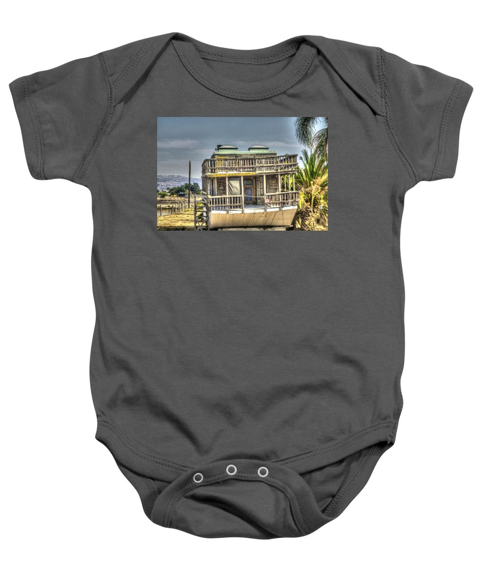 Alviso Baby Onesie featuring the photograph Houseboat 3 by SC Heffner