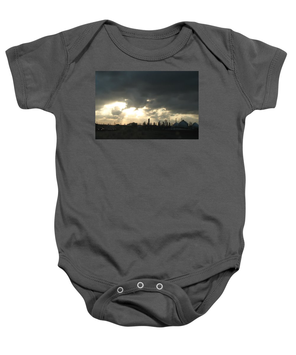 Sunbeams Baby Onesie featuring the photograph Houston Refinery At Dusk by Connie Fox