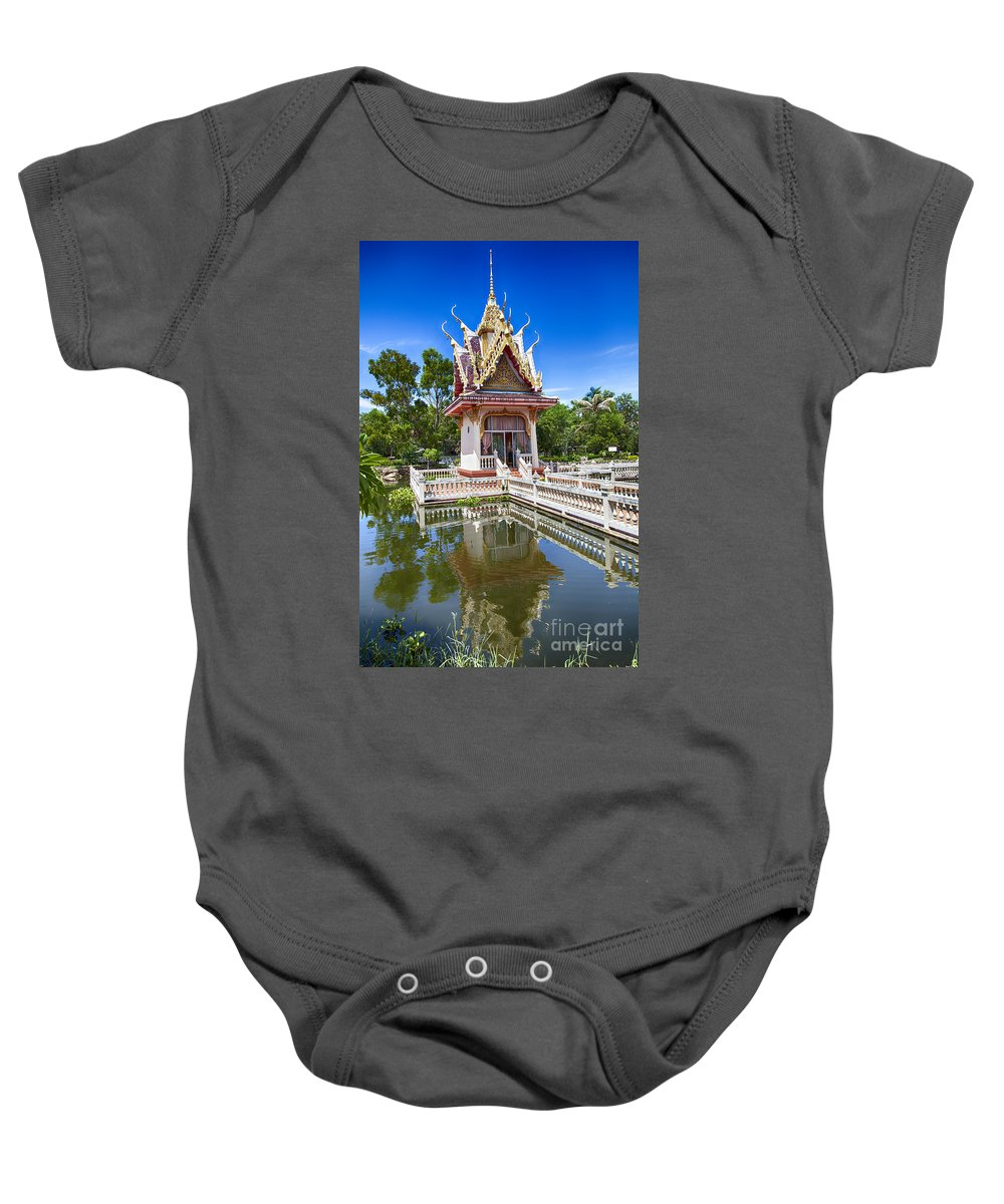 Thailand Baby Onesie featuring the photograph Hua Hin Temple Pond by Sophie McAulay