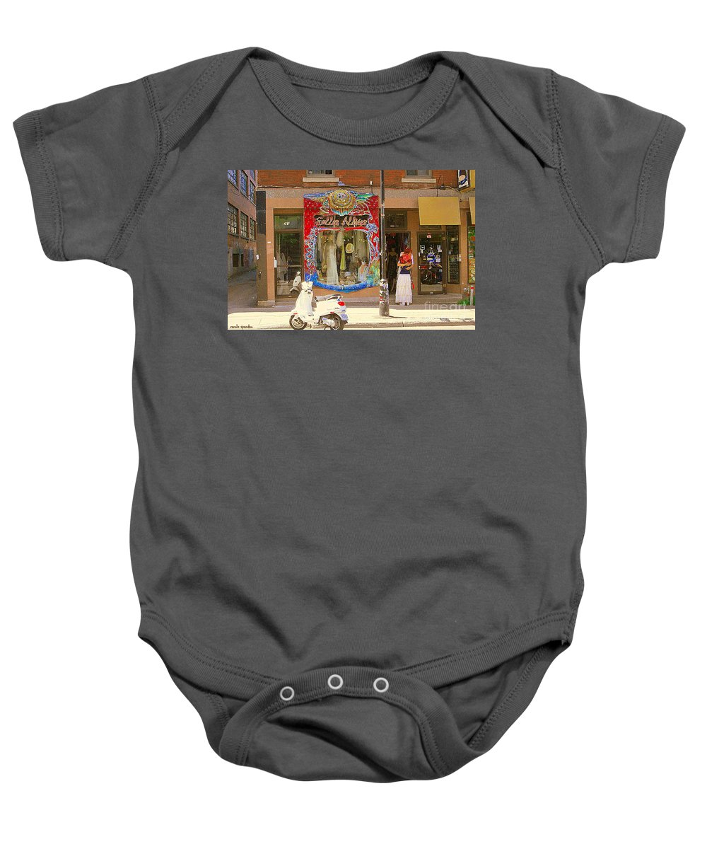 Boutique Les Folles Alliees Baby Onesie featuring the painting Hugs At Les Folles Allies Vintage Couture Friperie Farewell Goodbye Mont Royal City Scene C Spandau by Carole Spandau