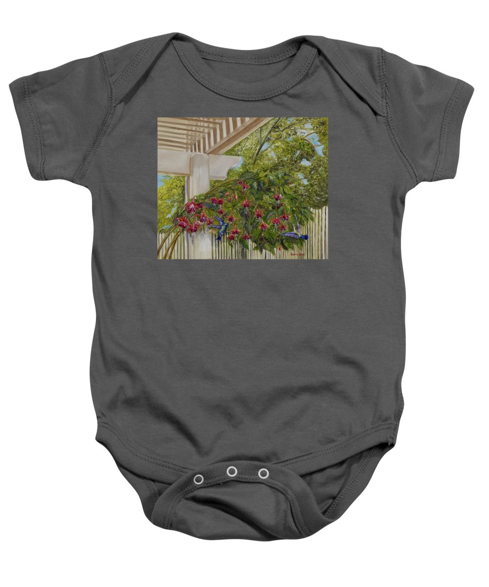 Hummingbirds Baby Onesie featuring the painting Hummingbirds In Spring by Maria Gibbs