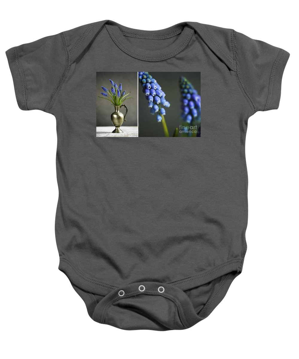 Hyacinth Baby Onesie featuring the photograph Hyacinth Still Life by Nailia Schwarz
