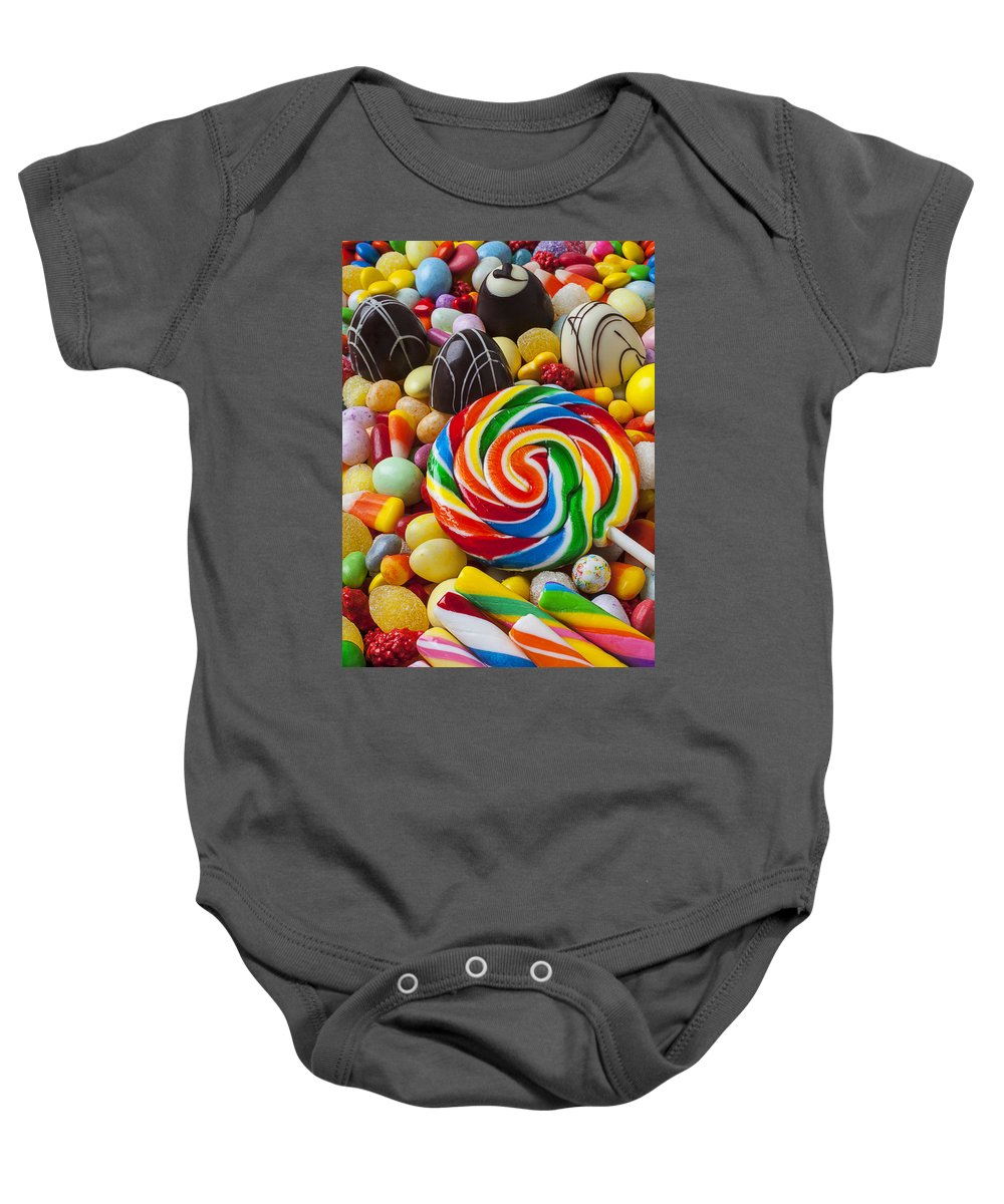 Truffle Baby Onesie featuring the photograph I Love Candy by Garry Gay