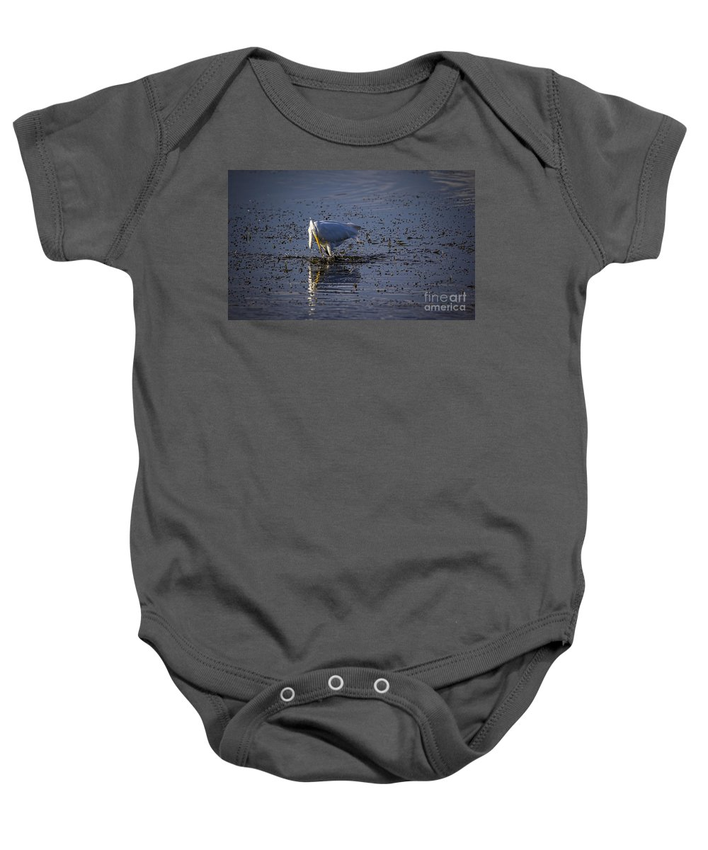 White Egret Baby Onesie featuring the photograph I Missed by Marvin Spates