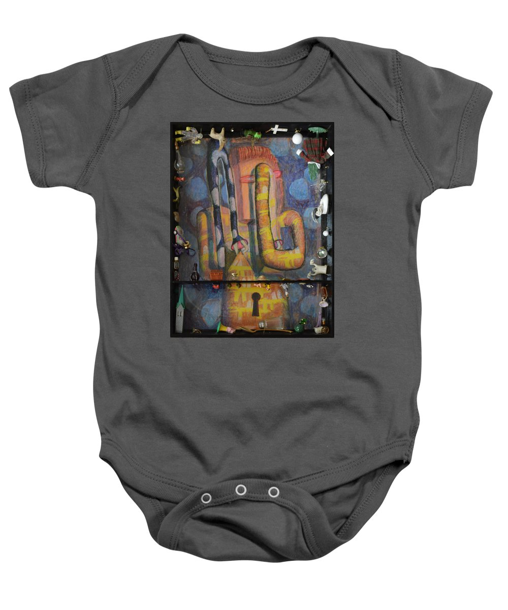 Abstract Modern Outsider Raw Arm Figure Dress Design Keyhole Yellow Blue Folk Surreal Arm Baby Onesie featuring the painting I Wouldn't Touch This Dress With A Ten Foot Pole by Nancy Mauerman