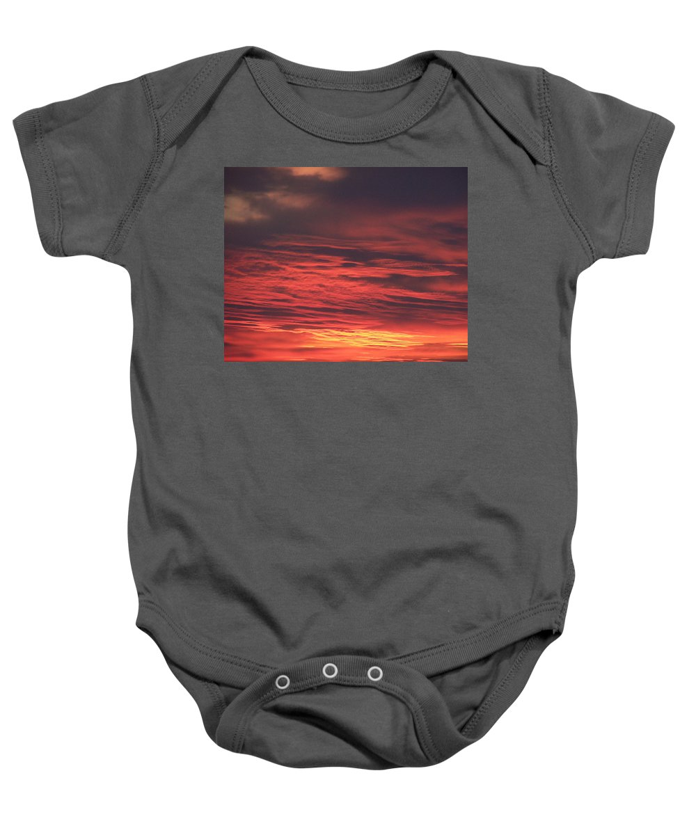 Icy Red Sky Baby Onesie featuring the photograph Icy Red Sky by Jennifer Allen