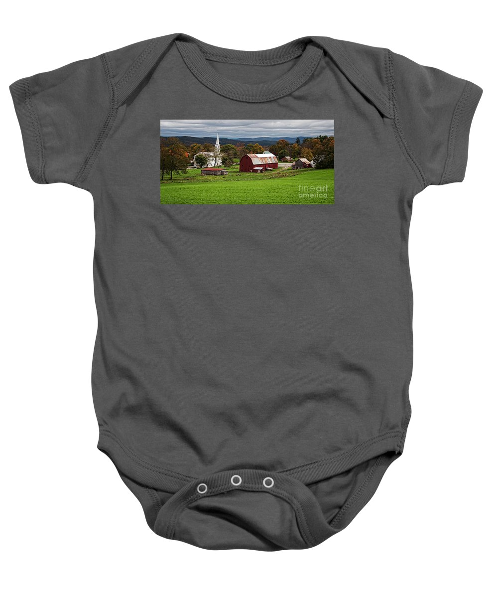 Vermont Baby Onesie featuring the photograph Idyllic Vermont Small Town by Edward Fielding
