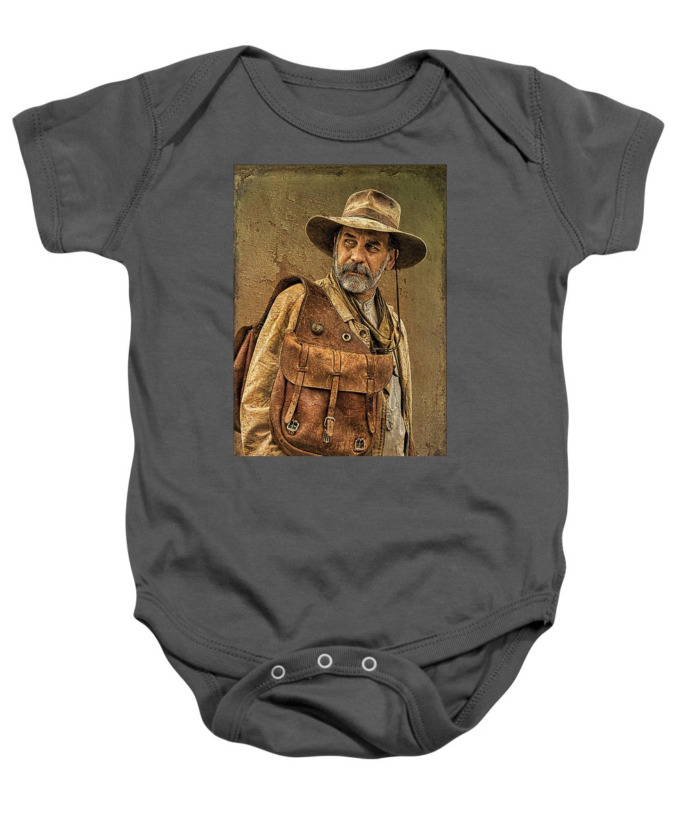 Whiskey Row Shootout Baby Onesie featuring the photograph If Looks Could Kill by Priscilla Burgers