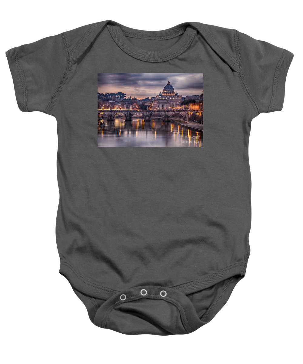 Rome Baby Onesie featuring the photograph Illuminated Bridge In Rome Italy by Sophie McAulay