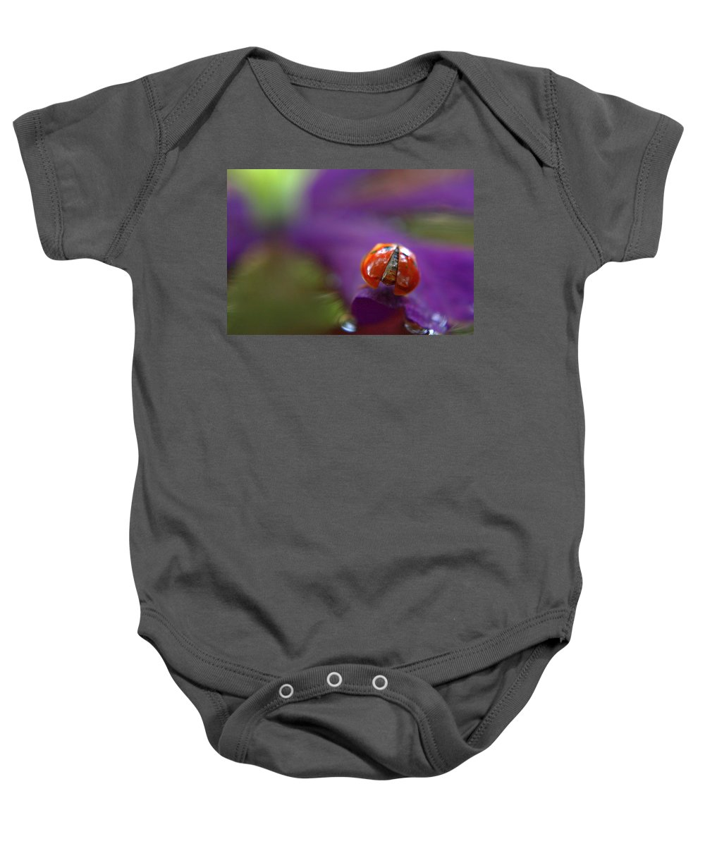 Lady Bugs Baby Onesie featuring the photograph I'm A Little Behind by Deb Buchanan