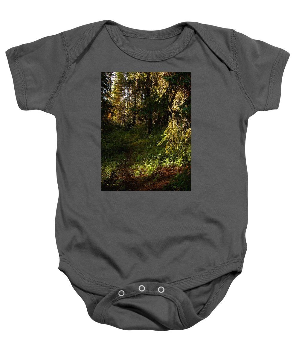 Landscape Baby Onesie featuring the painting In The Druid Cathedral by RC DeWinter