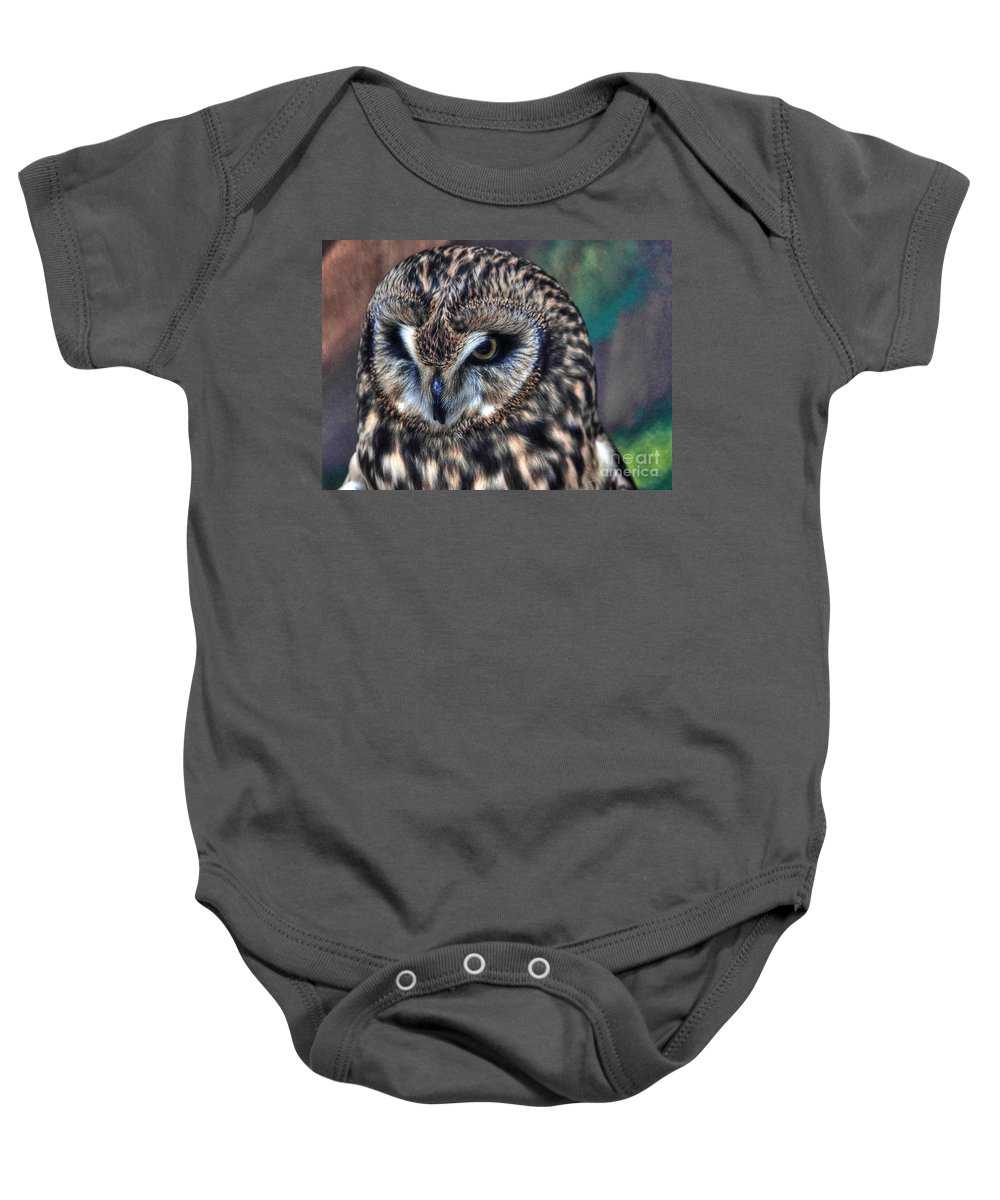 Owl Baby Onesie featuring the photograph In The Eyes Of The Owl by Emily Kay