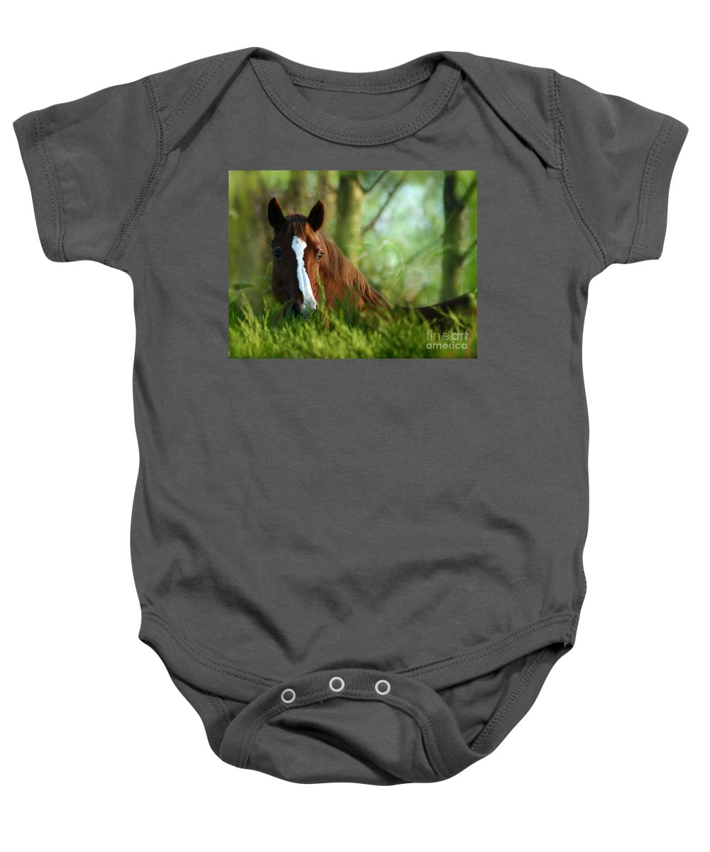 Horse Baby Onesie featuring the photograph In The Green by Angel Ciesniarska