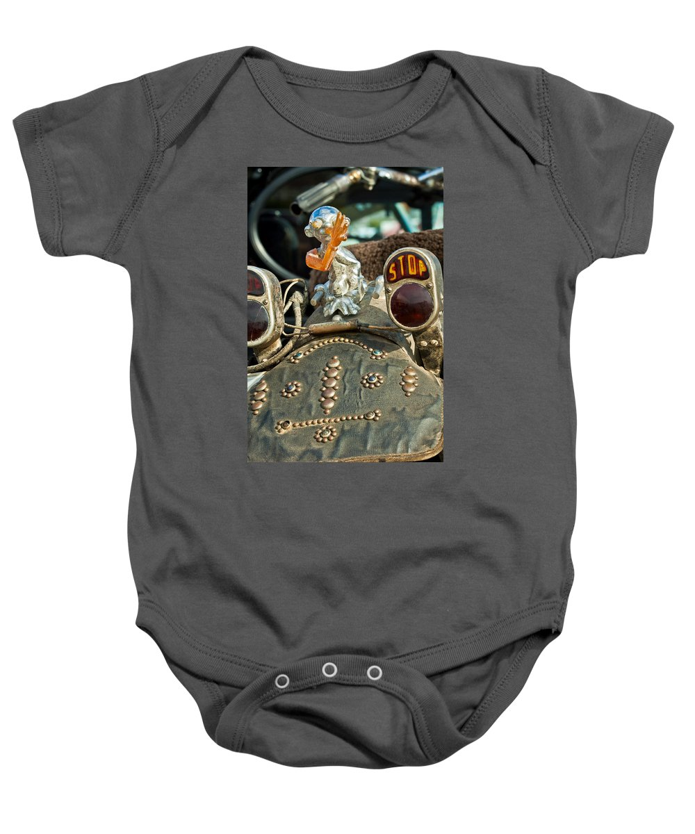 Indian Chopper Baby Onesie featuring the photograph Indian Chopper Taillight by Jill Reger