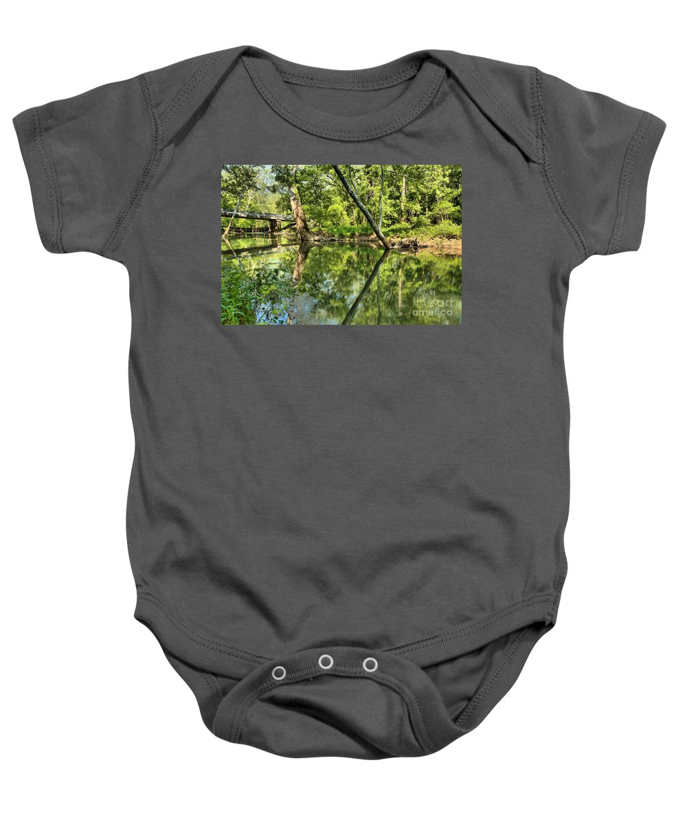 Spring Mill State Park Baby Onesie featuring the photograph Indiana Reflections by Adam Jewell