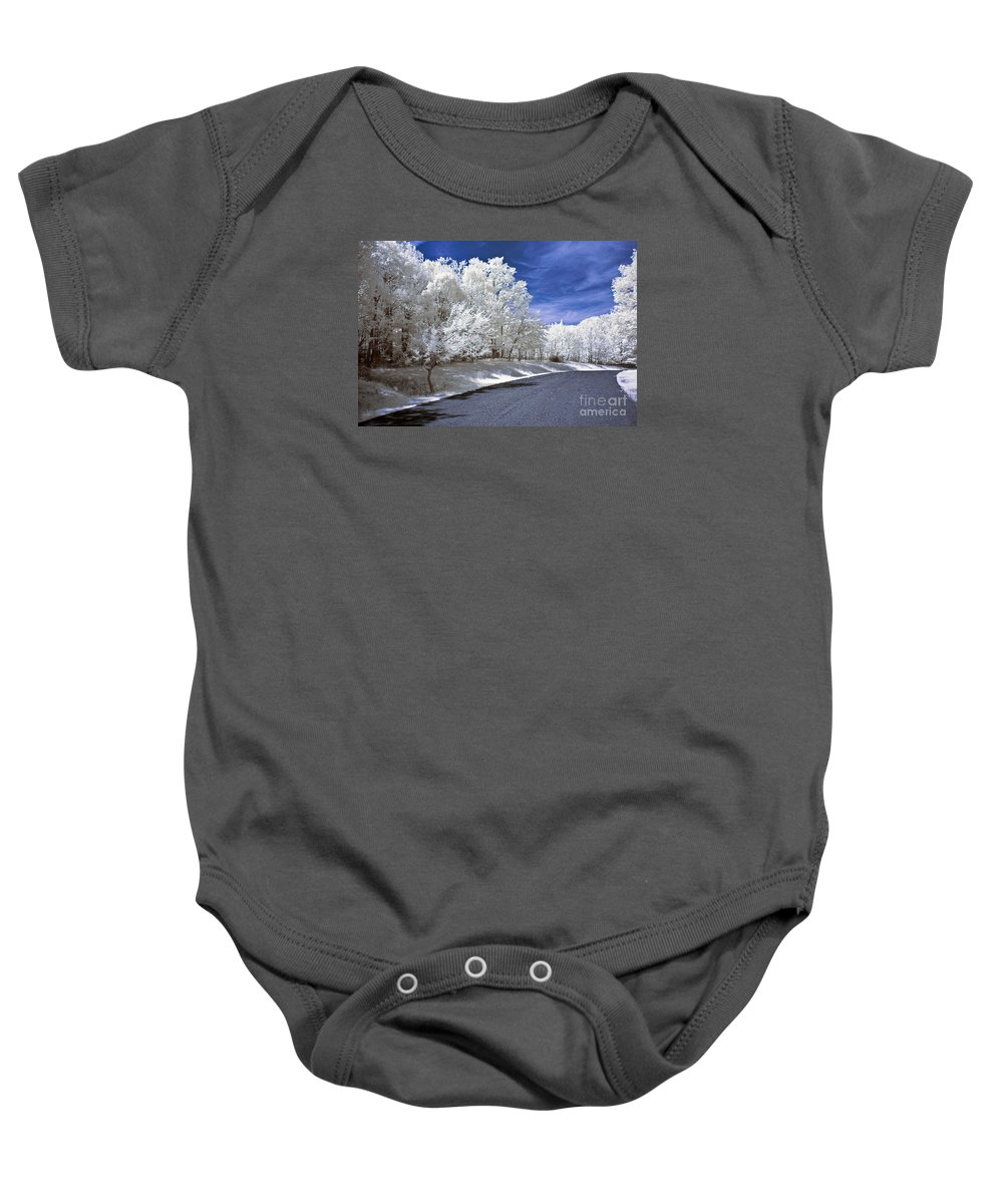 Landscape Baby Onesie featuring the photograph Infrared Road by Anthony Sacco