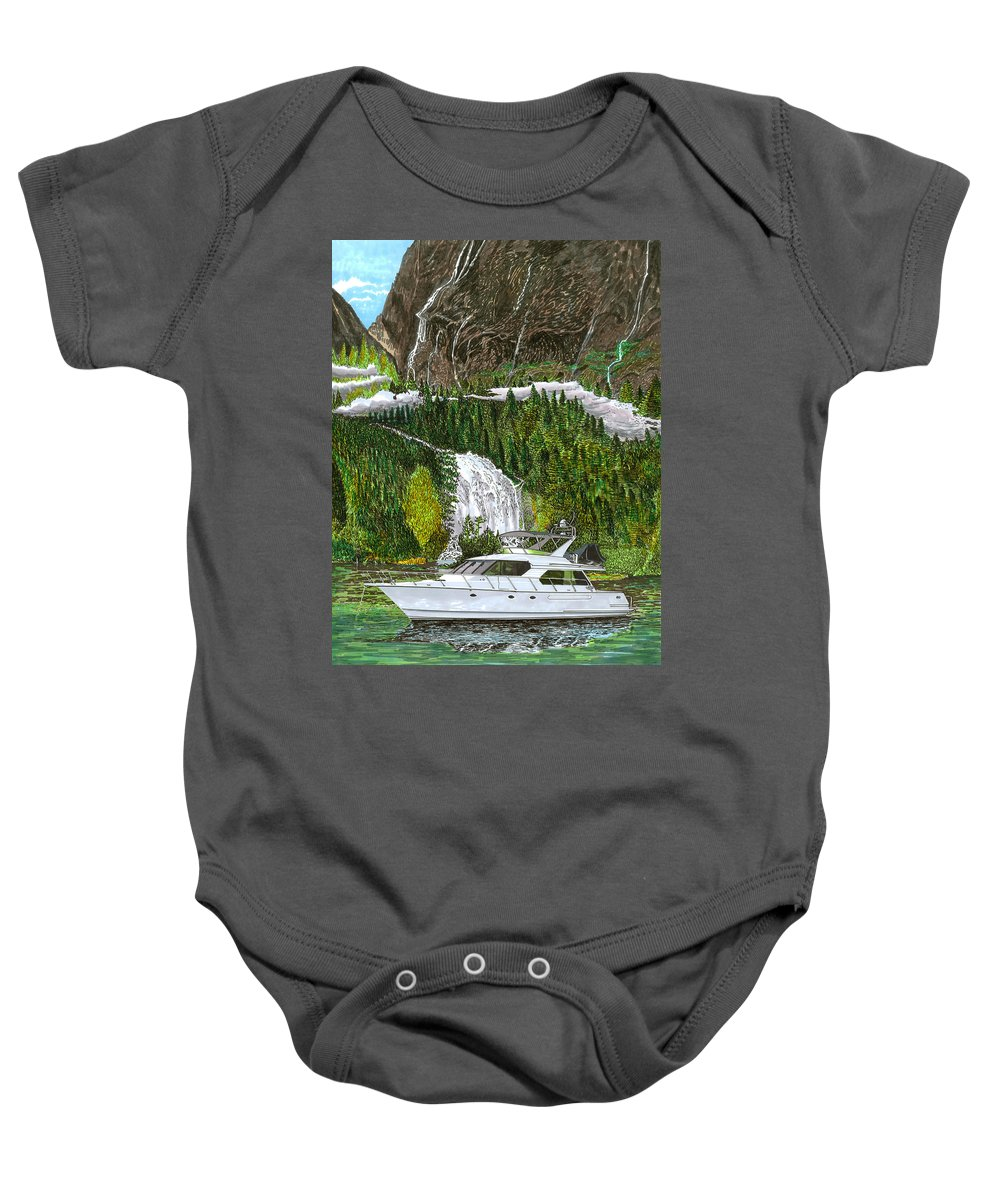Yacht Portraits Baby Onesie featuring the painting Inside Passage Time Out by Jack Pumphrey