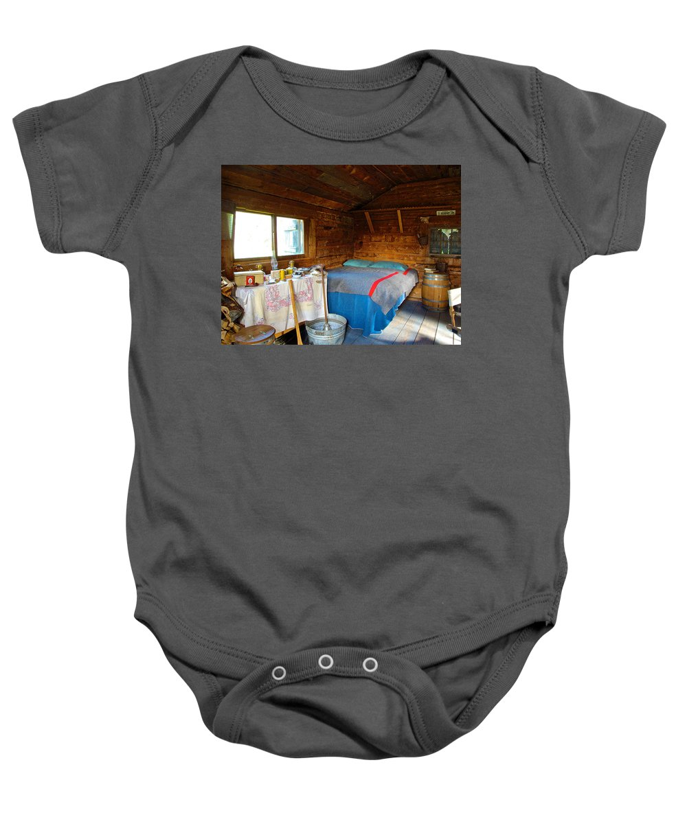 Inside Of One Room Savage River Ranger Cabin In Denali Np Baby Onesie featuring the photograph Inside Savage River Cabin In Denali Np-ak  by Ruth Hager