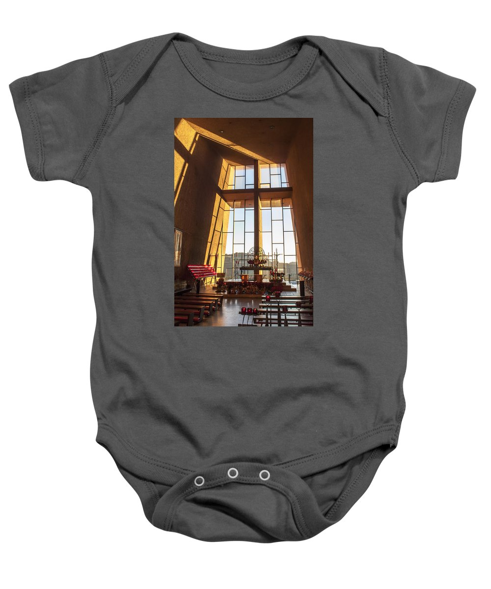 Fred Larson Baby Onesie featuring the photograph Inside The Chapel Of The Holy Cross by Fred Larson