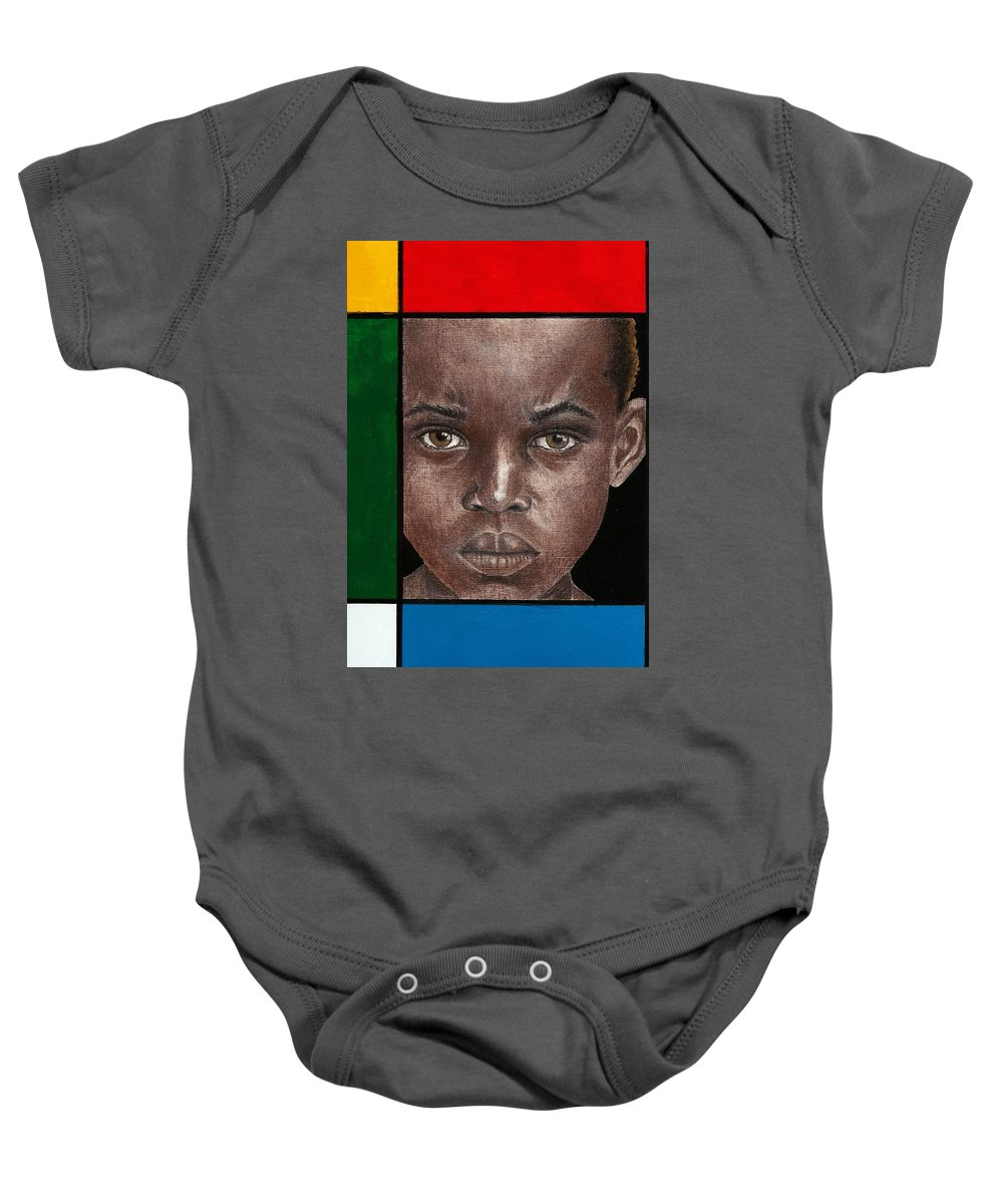 African American Artwork Baby Onesie featuring the mixed media Intense by Edith Peterson-Watson