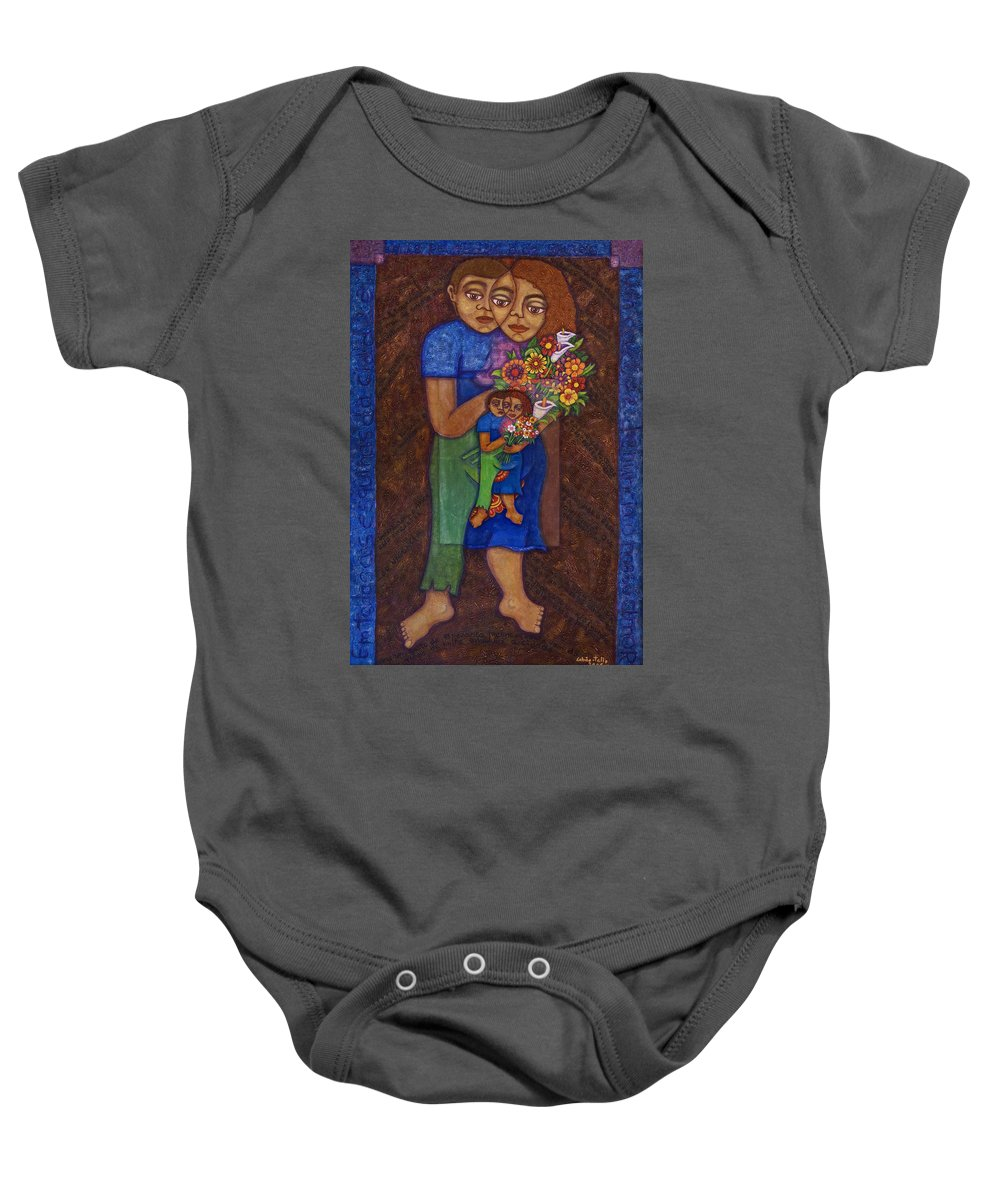 Invention Of Love Baby Onesie featuring the painting Invention Of Love by Madalena Lobao-Tello