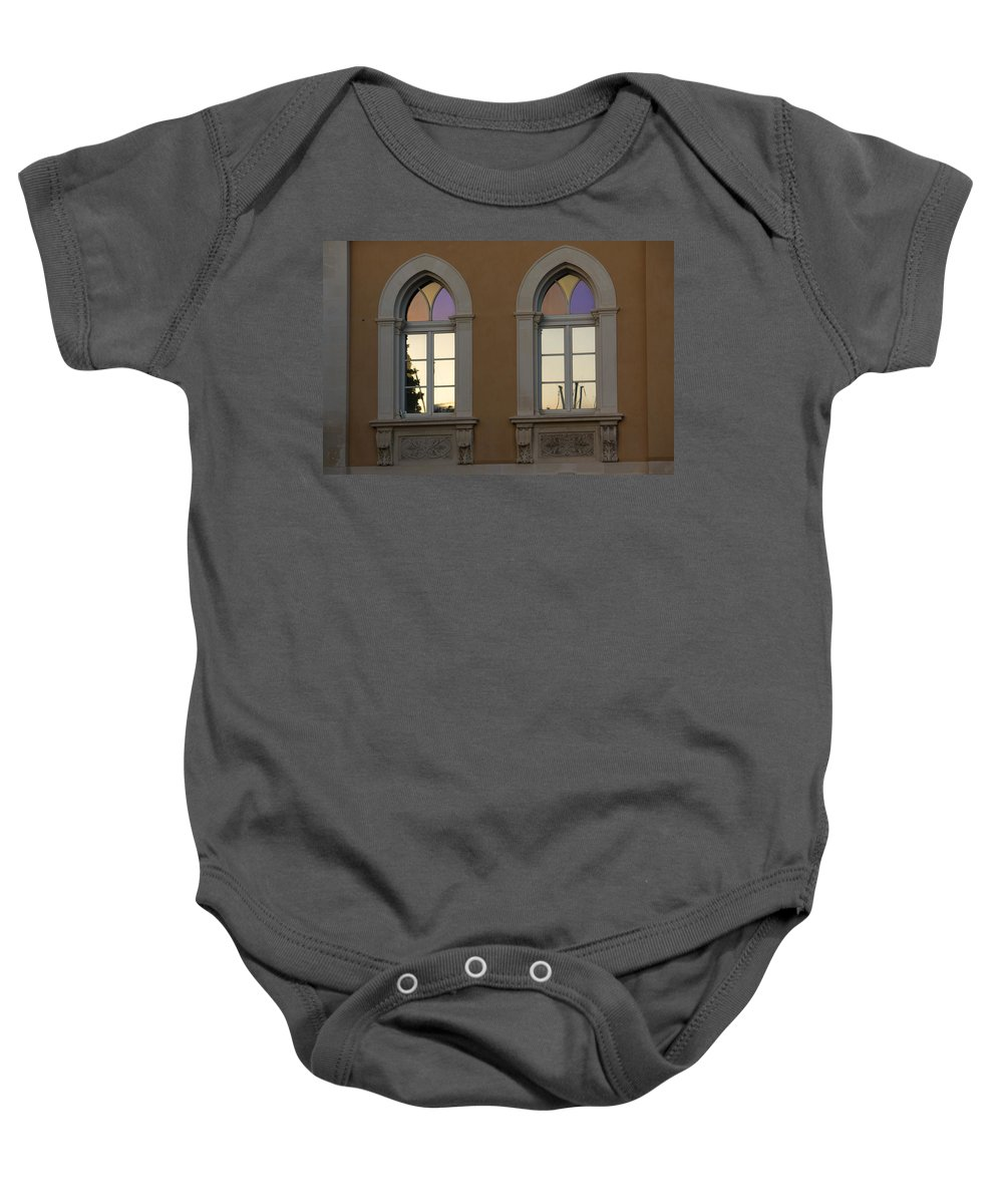 Iridescent Baby Onesie featuring the photograph Iridescent Pastels At Sunset - Syracuse Arched Windows by Georgia Mizuleva