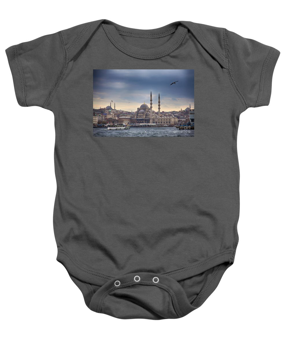 Dramatic Baby Onesie featuring the photograph Istanbul Skyline by Sophie McAulay