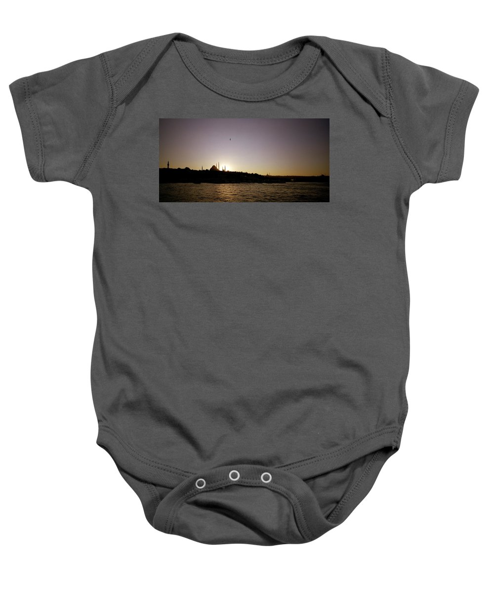 Istanbul Baby Onesie featuring the photograph Istanbul Sunset by Shaun Higson