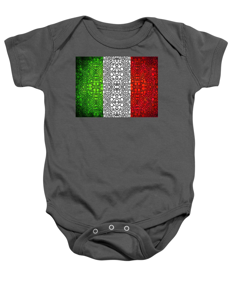 Italian Baby Onesie featuring the painting Italian Flag - Italy Stone Rock'd Art By Sharon Cummings Italia by Sharon Cummings