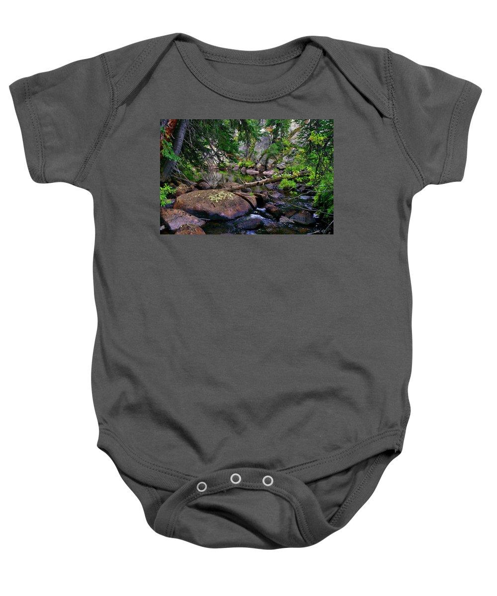 Ivanhoe Serenity Baby Onesie featuring the photograph Ivanhoe Serenity by Jeremy Rhoades