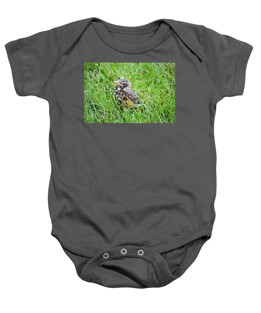 Robin Baby Onesie featuring the photograph I've Fallen And Can't Get Up by Bonfire Photography