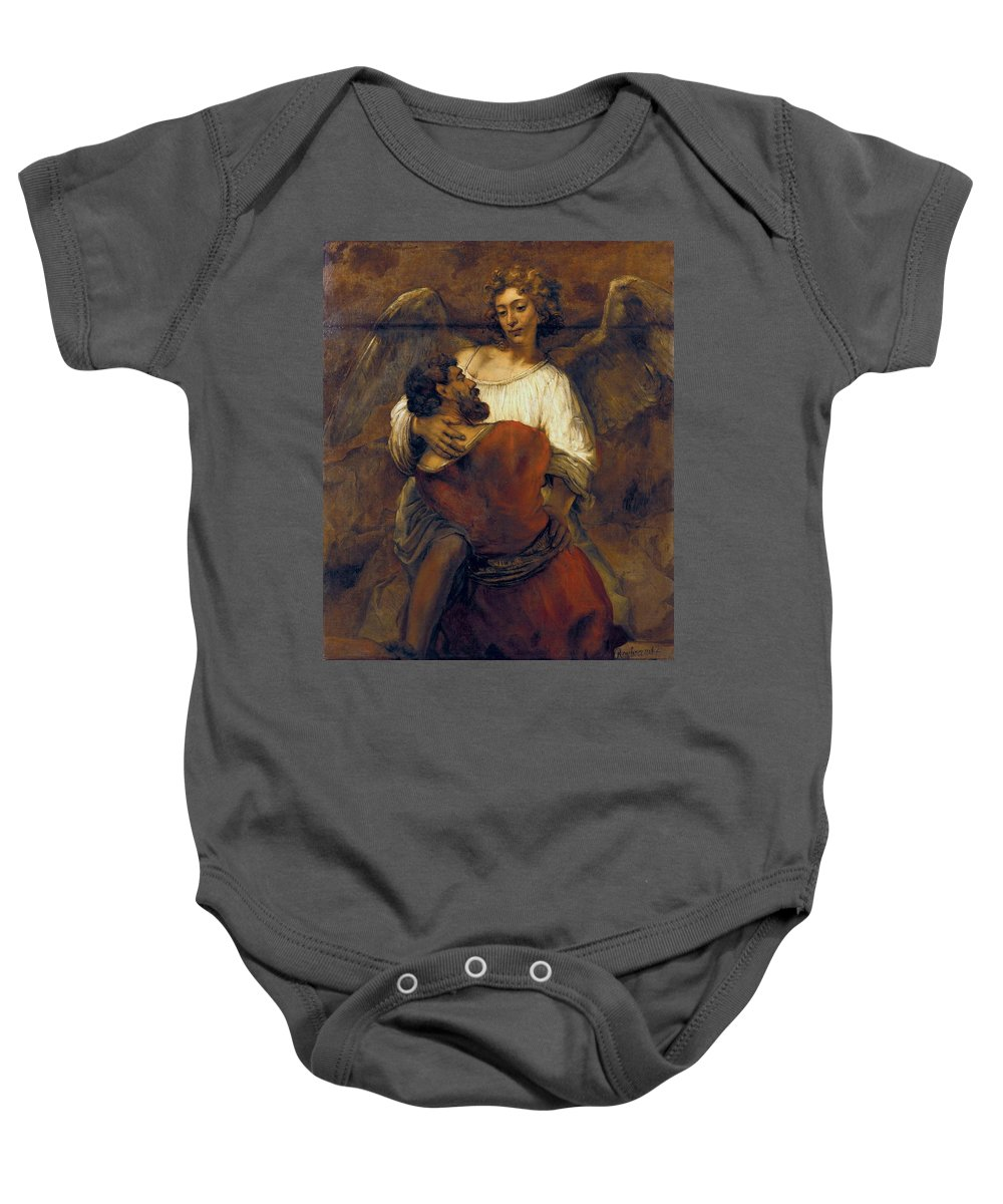 1659 Baby Onesie featuring the painting Jacob Wrestling With The Angel by Rembrandt van Rijn