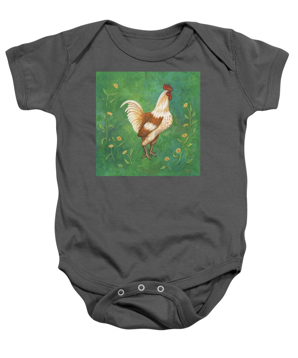 Animals Baby Onesie featuring the painting Jagger The Rooster by Linda Mears