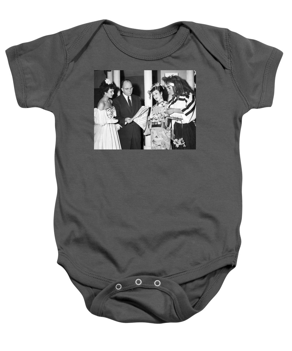 1954 Baby Onesie featuring the photograph James Michener In Tokyo by Underwood Archives