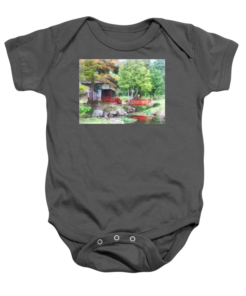Garden Baby Onesie featuring the photograph Japanese Garden With Red Bridge by Susan Savad