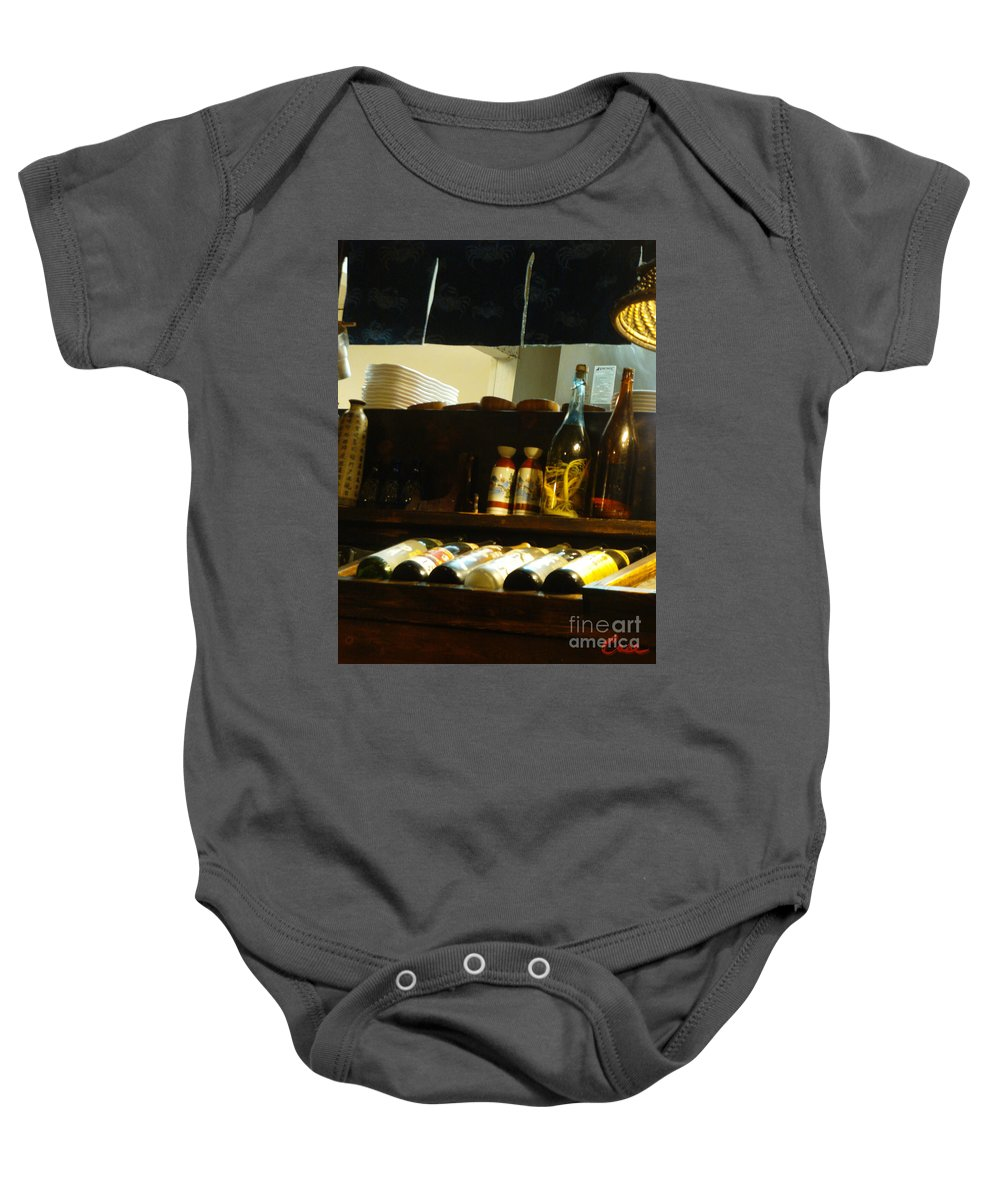 Sake Baby Onesie featuring the photograph Japanese Kitchen And Sake Selection by Feile Case