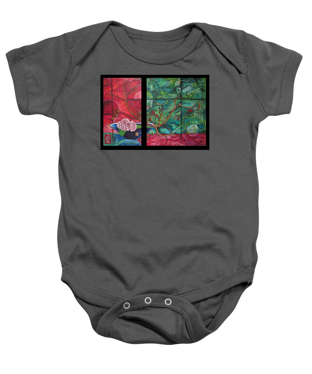 Baby Onesie featuring the painting Japanesse Flower Arrangment by Joshua Morton