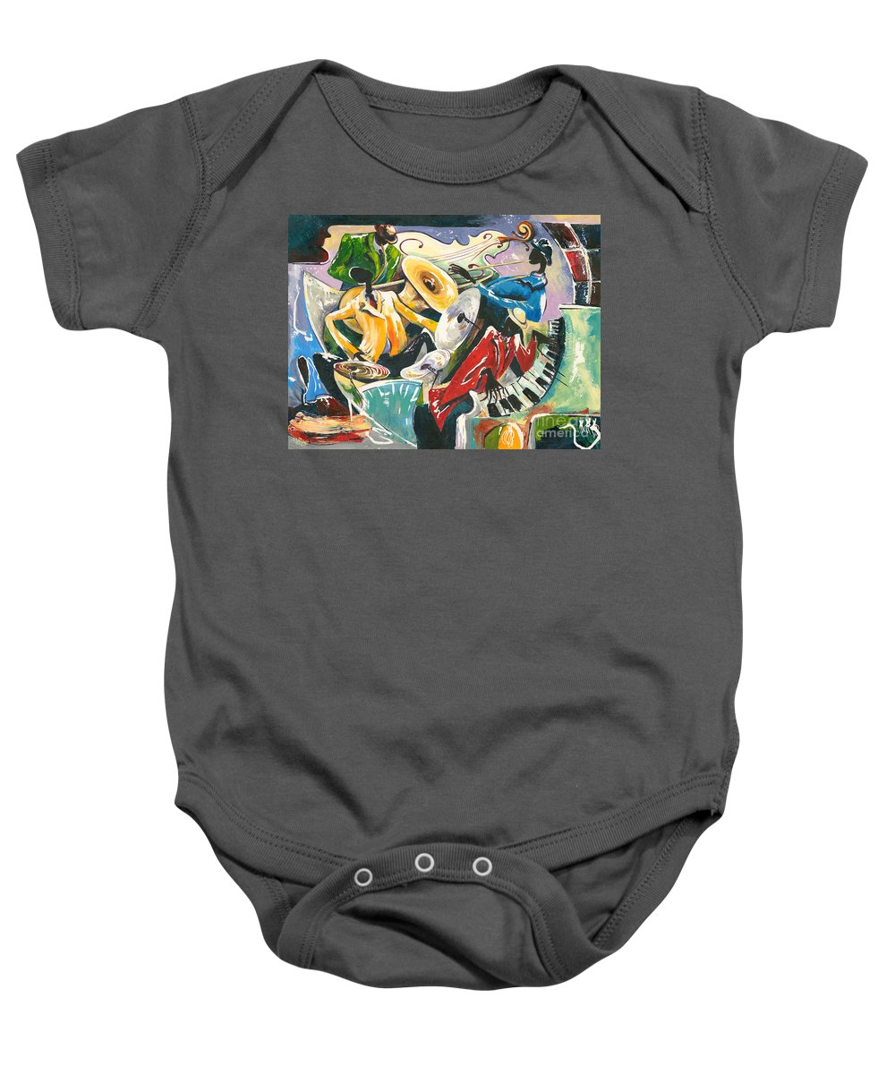 Canvas Prints Baby Onesie featuring the painting Jazz No. 3 by Elisabeta Hermann