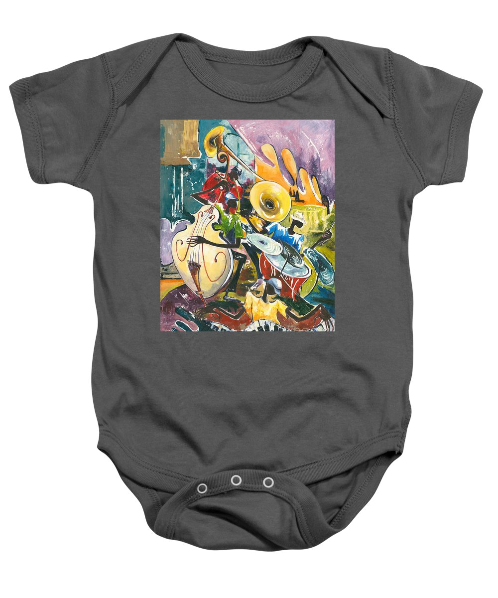 Acrylic Baby Onesie featuring the painting Jazz No. 4 by Elisabeta Hermann