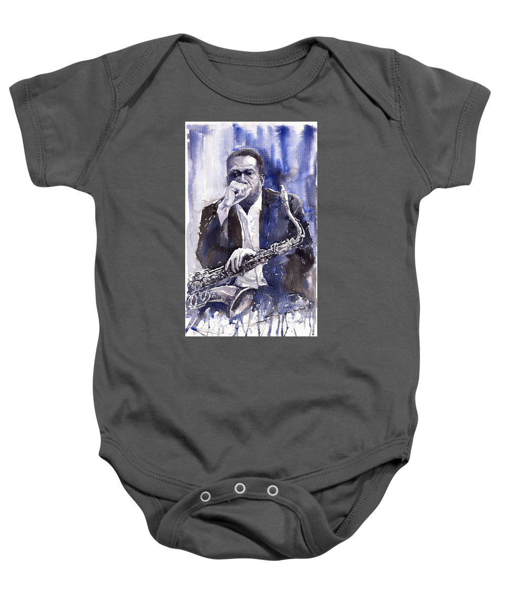 Jazz Baby Onesie featuring the painting Jazz Saxophonist John Coltrane Blue by Yuriy Shevchuk